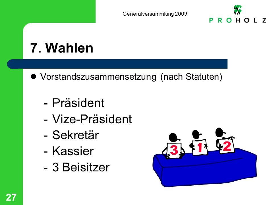 Generalversammlung 2009 27 7. Wahlen Vorstandszusammensetzung (nach Statuten) -Präsident -Vize-Präsident -Sekretär -Kassier -3 Beisitzer