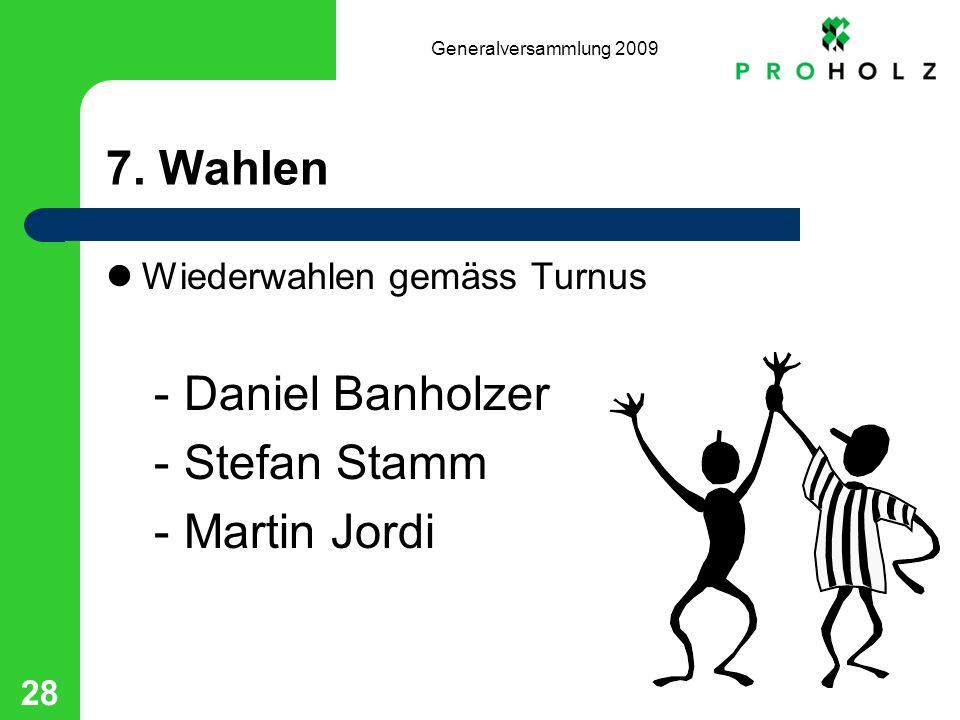 Generalversammlung 2009 28 7. Wahlen Wiederwahlen gemäss Turnus -Daniel Banholzer -Stefan Stamm -Martin Jordi