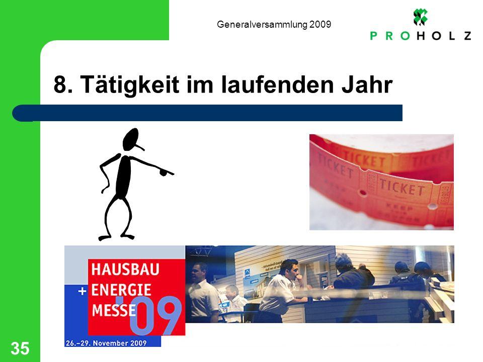 Generalversammlung 2009 35 8. Tätigkeit im laufenden Jahr