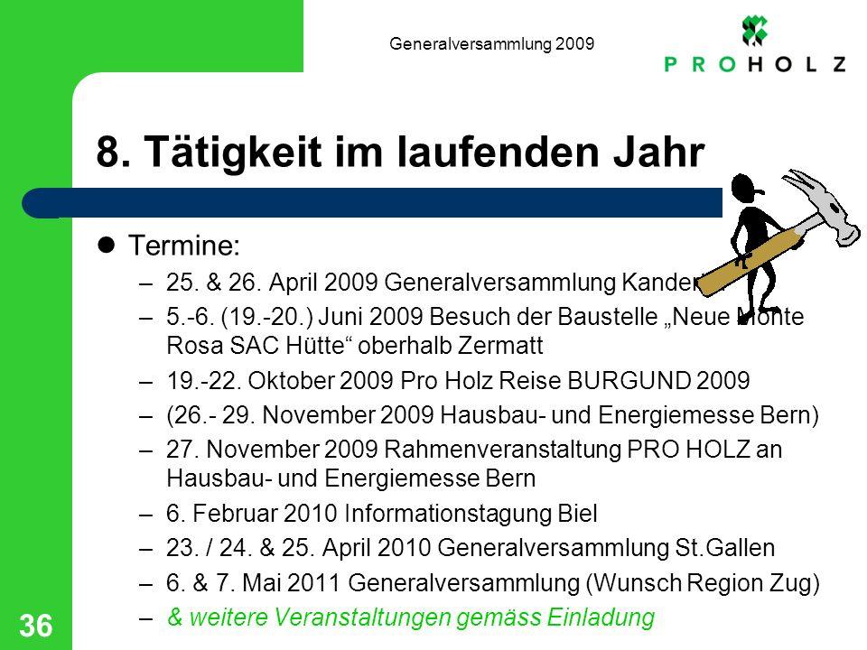 Generalversammlung 2009 36 8. Tätigkeit im laufenden Jahr Termine: –25. & 26. April 2009 Generalversammlung Kandertal –5.-6. (19.-20.) Juni 2009 Besuc