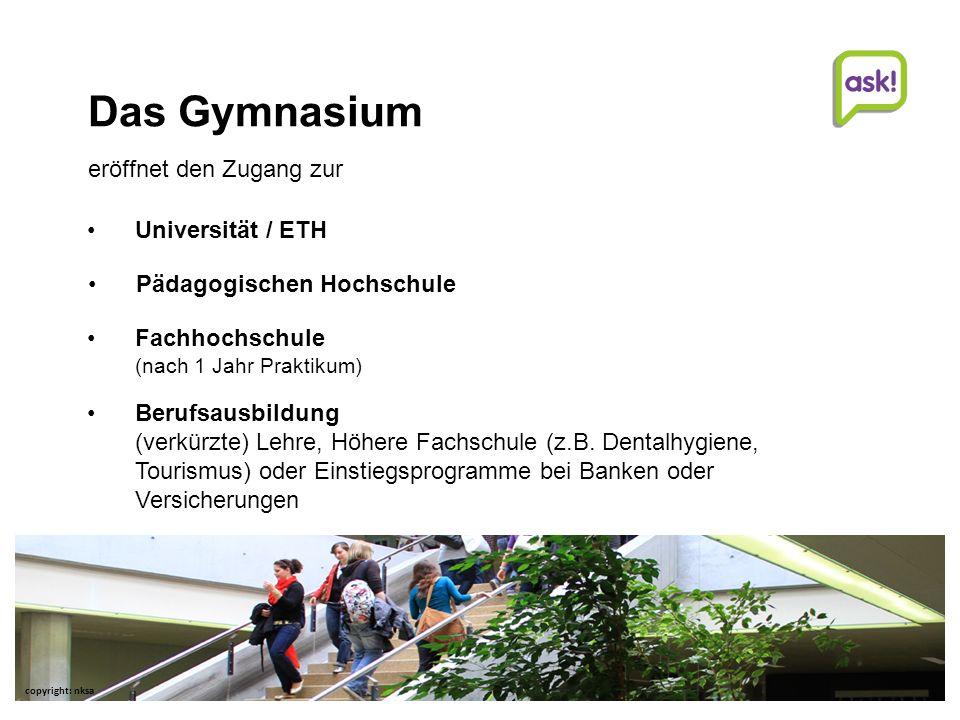 7 | Beratungsdienste für Ausbildung und Beruf AG Studien- und Laufbahnberatung | | © Beratungsdienste für Ausbildung und Beruf Aargau Gymnasium Vertiefte Allgemeinbildung, d.h.