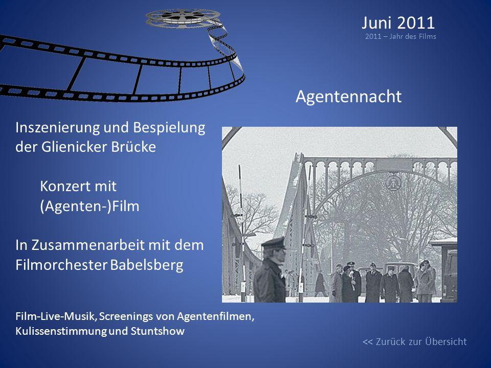 Juni 2011 2011 – Jahr des Films Agentennacht Inszenierung und Bespielung der Glienicker Brücke Konzert mit (Agenten-)Film In Zusammenarbeit mit dem Fi
