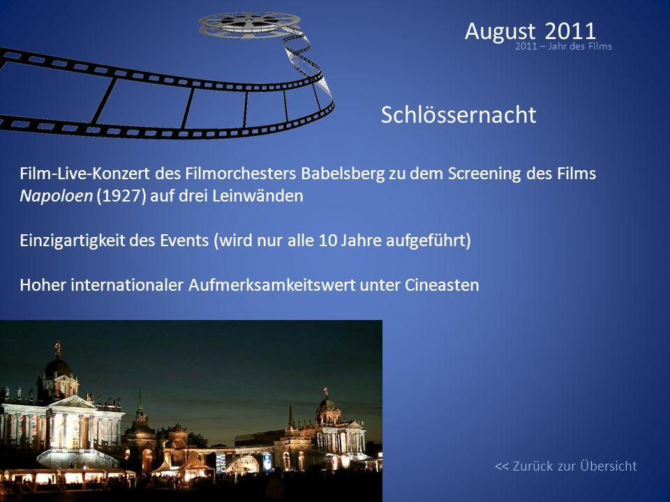 August 2011 2011 – Jahr des Films Schlössernacht Film-Live-Konzert des Filmorchesters Babelsberg zu dem Screening des Films Napoloen (1927) auf drei L