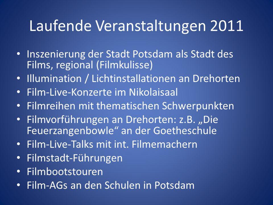 Laufende Veranstaltungen 2011 Inszenierung der Stadt Potsdam als Stadt des Films, regional (Filmkulisse) Illumination / Lichtinstallationen an Drehort