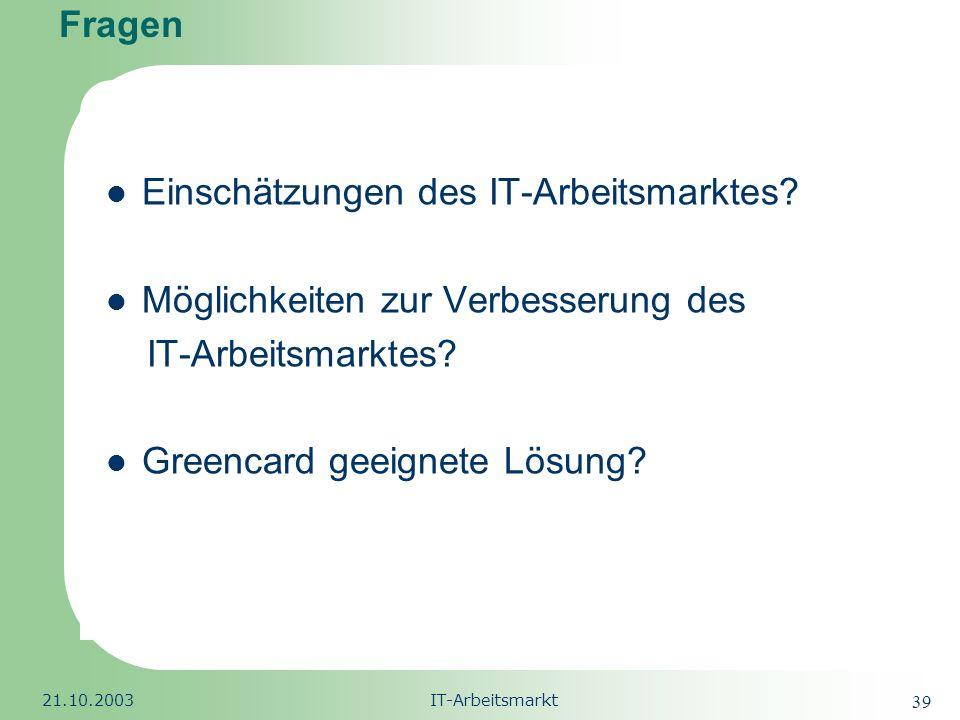 Republic of South Africa 21.10.2003IT-Arbeitsmarkt 39 Fragen Einschätzungen des IT-Arbeitsmarktes? Möglichkeiten zur Verbesserung des IT-Arbeitsmarkte