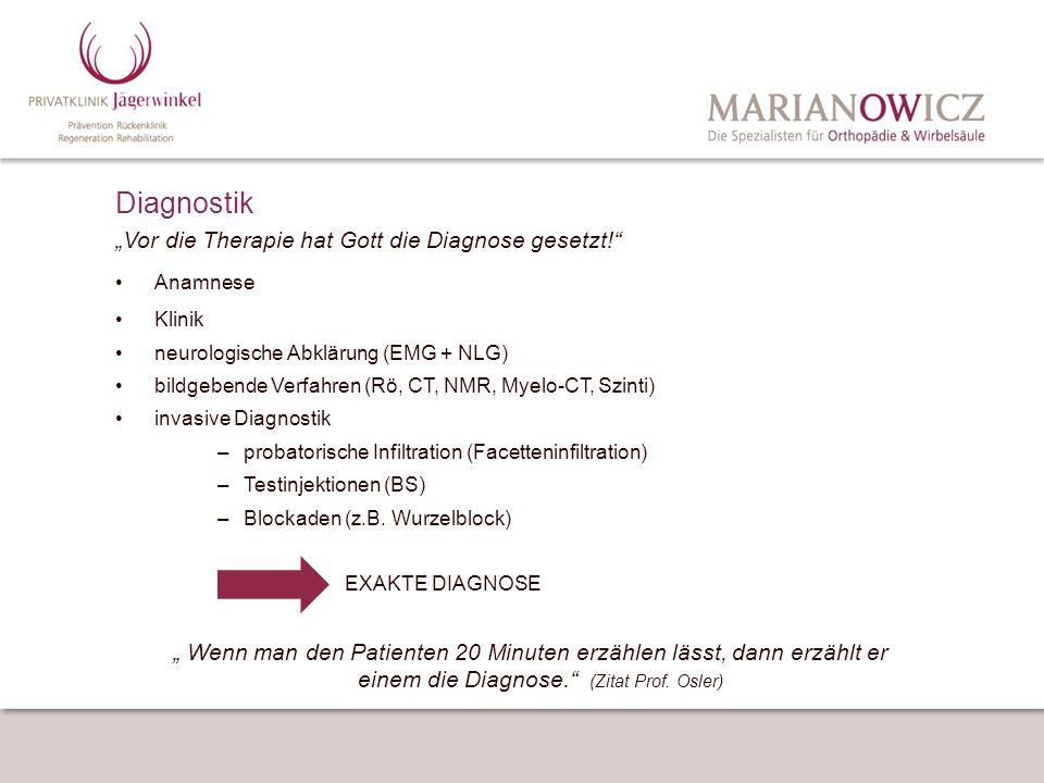 Diagnostik Vor die Therapie hat Gott die Diagnose gesetzt! Anamnese Klinik neurologische Abklärung (EMG + NLG) bildgebende Verfahren (Rö, CT, NMR, Mye