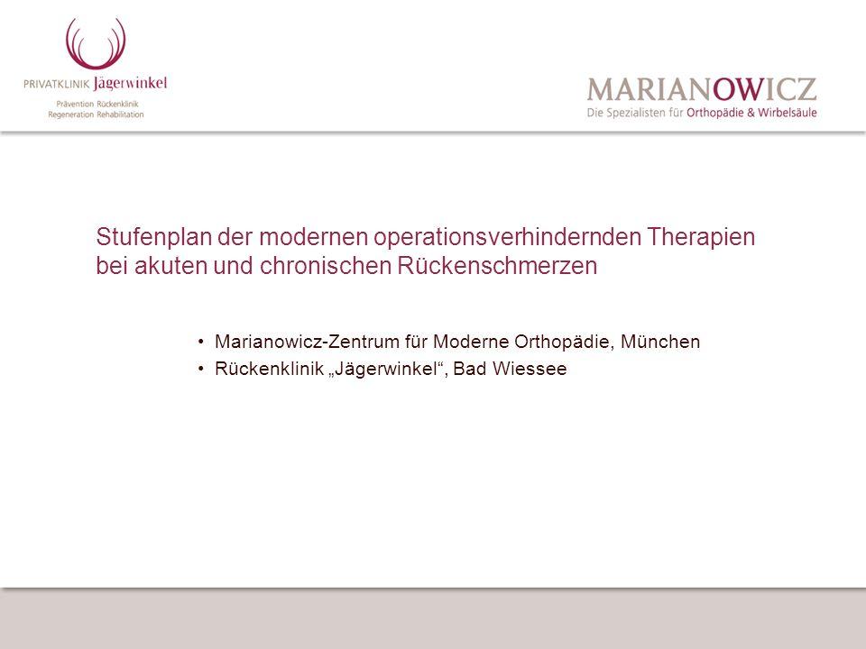 Stufenplan der modernen operationsverhindernden Therapien bei akuten und chronischen Rückenschmerzen Marianowicz-Zentrum für Moderne Orthopädie, Münch
