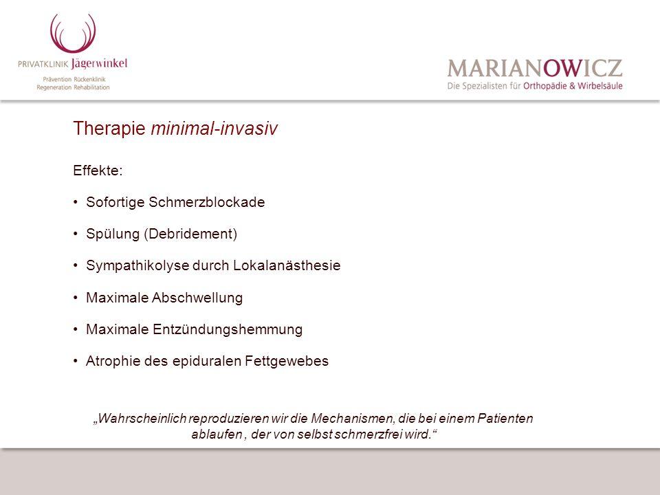 Therapie minimal-invasiv Effekte: Sofortige Schmerzblockade Spülung (Debridement) Sympathikolyse durch Lokalanästhesie Maximale Abschwellung Maximale