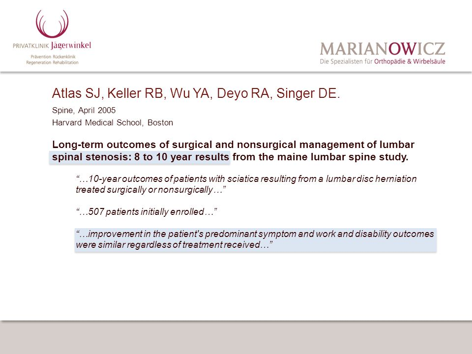 Atlas SJ, Keller RB, Wu YA, Deyo RA, Singer DE. Spine, April 2005 Harvard Medical School, Boston Long-term outcomes of surgical and nonsurgical manage