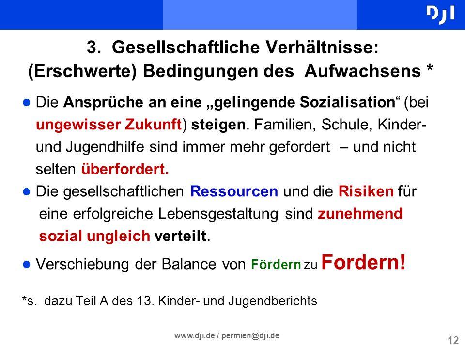 12 www.dji.de / permien@dji.de 3. Gesellschaftliche Verhältnisse: (Erschwerte) Bedingungen des Aufwachsens * l Die Ansprüche an eine gelingende Sozial