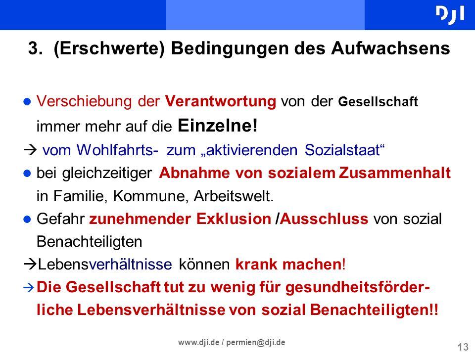 13 www.dji.de / permien@dji.de 3. (Erschwerte) Bedingungen des Aufwachsens l Verschiebung der Verantwortung von der Gesellschaft immer mehr auf die Ei