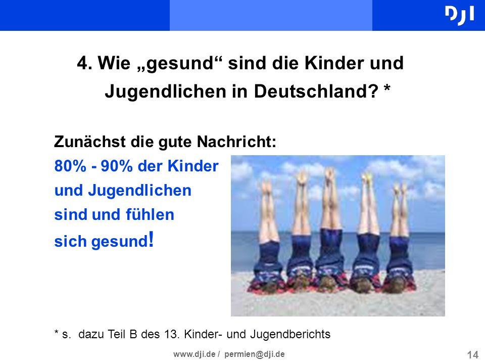 14 www.dji.de / permien@dji.de 4. Wie gesund sind die Kinder und Jugendlichen in Deutschland? * Zunächst die gute Nachricht: 80% - 90% der Kinder und