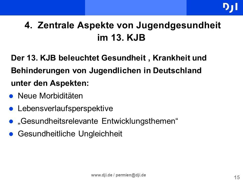 15 4. Zentrale Aspekte von Jugendgesundheit im 13. KJB www.dji.de / permien@dji.de Der 13. KJB beleuchtet Gesundheit, Krankheit und Behinderungen von