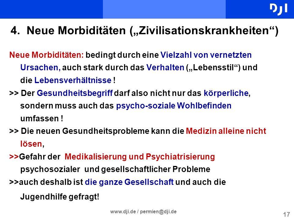 17 www.dji.de / permien@dji.de 4. Neue Morbiditäten (Zivilisationskrankheiten) Neue Morbiditäten: bedingt durch eine Vielzahl von vernetzten Ursachen,