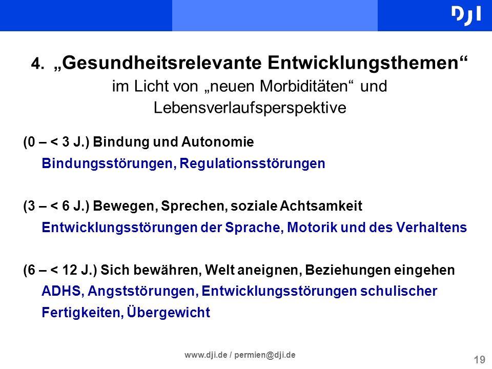 19 www.dji.de / permien@dji.de 4. Gesundheitsrelevante Entwicklungsthemen im Licht von neuen Morbiditäten und Lebensverlaufsperspektive (0 – < 3 J.) B