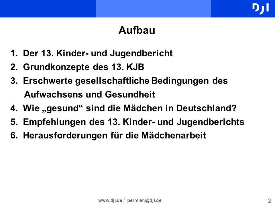 2 Aufbau 1. Der 13. Kinder- und Jugendbericht 2. Grundkonzepte des 13. KJB 3. Erschwerte gesellschaftliche Bedingungen des Aufwachsens und Gesundheit