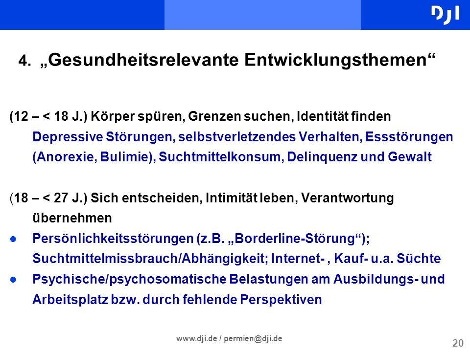 20 www.dji.de / permien@dji.de 4. Gesundheitsrelevante Entwicklungsthemen (12 – < 18 J.) Körper spüren, Grenzen suchen, Identität finden Depressive St