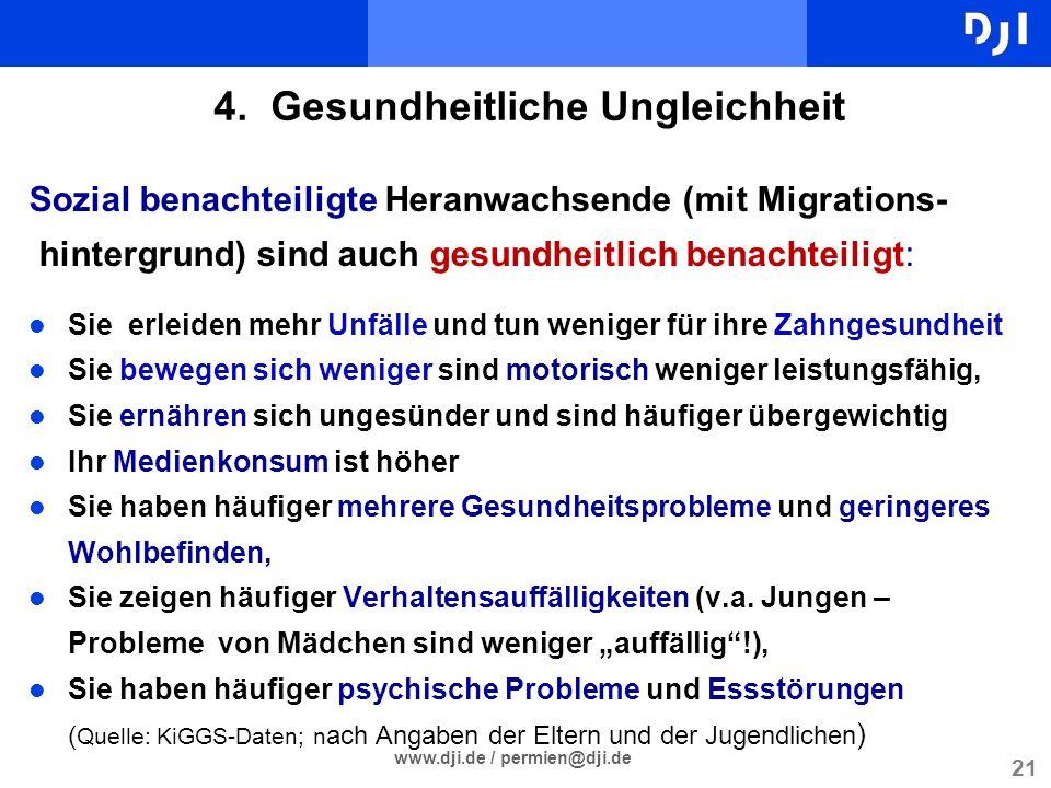 21 www.dji.de / permien@dji.de 4. Gesundheitliche Ungleichheit Sozial benachteiligte Heranwachsende (mit Migrations- hintergrund) sind auch gesundheit