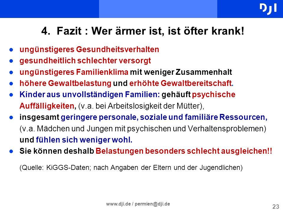 23 www.dji.de / permien@dji.de 4. Fazit : Wer ärmer ist, ist öfter krank! l ungünstigeres Gesundheitsverhalten l gesundheitlich schlechter versorgt l