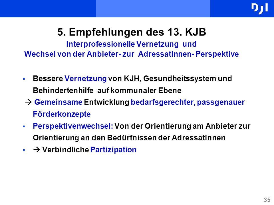 35 5. Empfehlungen des 13. KJB Interprofessionelle Vernetzung und Wechsel von der Anbieter- zur AdressatInnen- Perspektive Bessere Vernetzung von KJH,