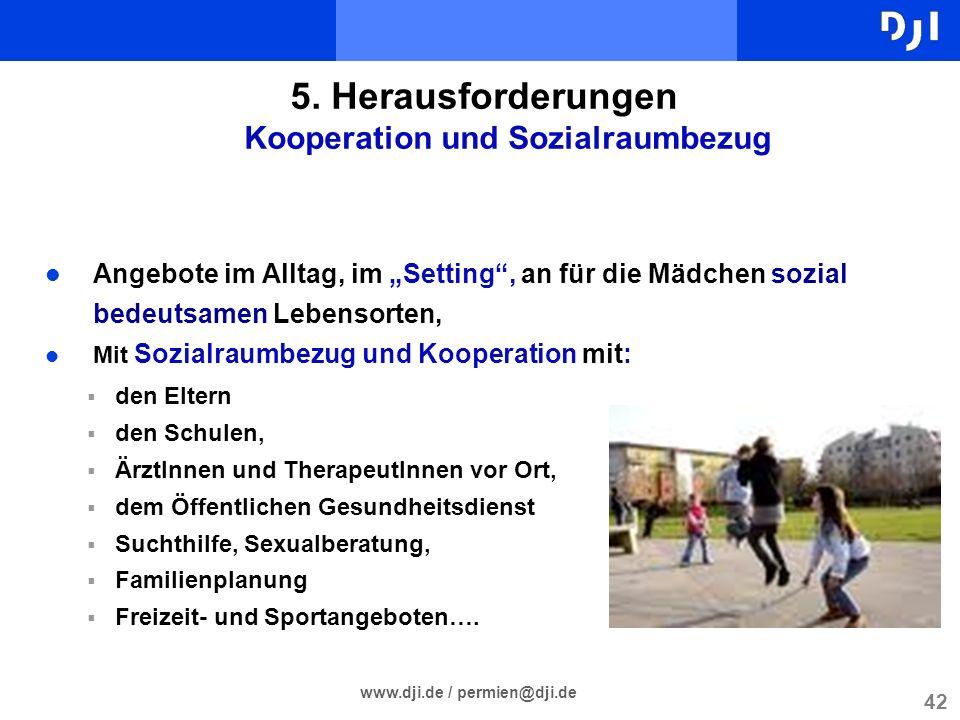 42 www.dji.de / permien@dji.de 5. Herausforderungen Kooperation und Sozialraumbezug l Angebote im Alltag, im Setting, an für die Mädchen sozial bedeut