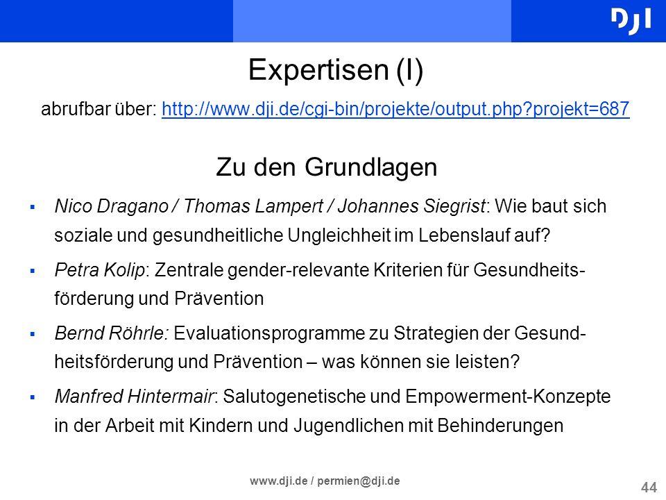 44 www.dji.de / permien@dji.de Zu den Grundlagen Nico Dragano / Thomas Lampert / Johannes Siegrist: Wie baut sich soziale und gesundheitliche Ungleich