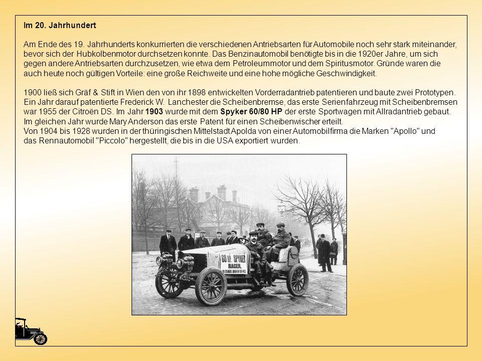 Der in Wien lebende Siegfried Marcus ließ unabhängig von Benz und Daimler in den Jahren 1888 und 1889 einen von einem Benzin-Viertaktmotor angetrieben
