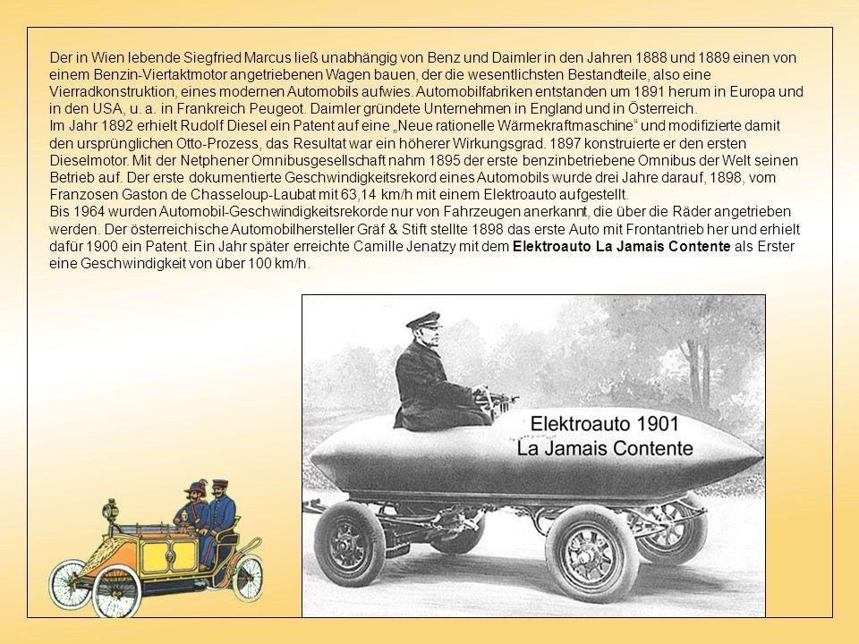 Der Deutsche Gottlieb Daimler baute 1887 ebenfalls völlig unabhängig von Carl Benz Automobile und gründete die Daimler-Motoren-Gesellschaft. Der von i