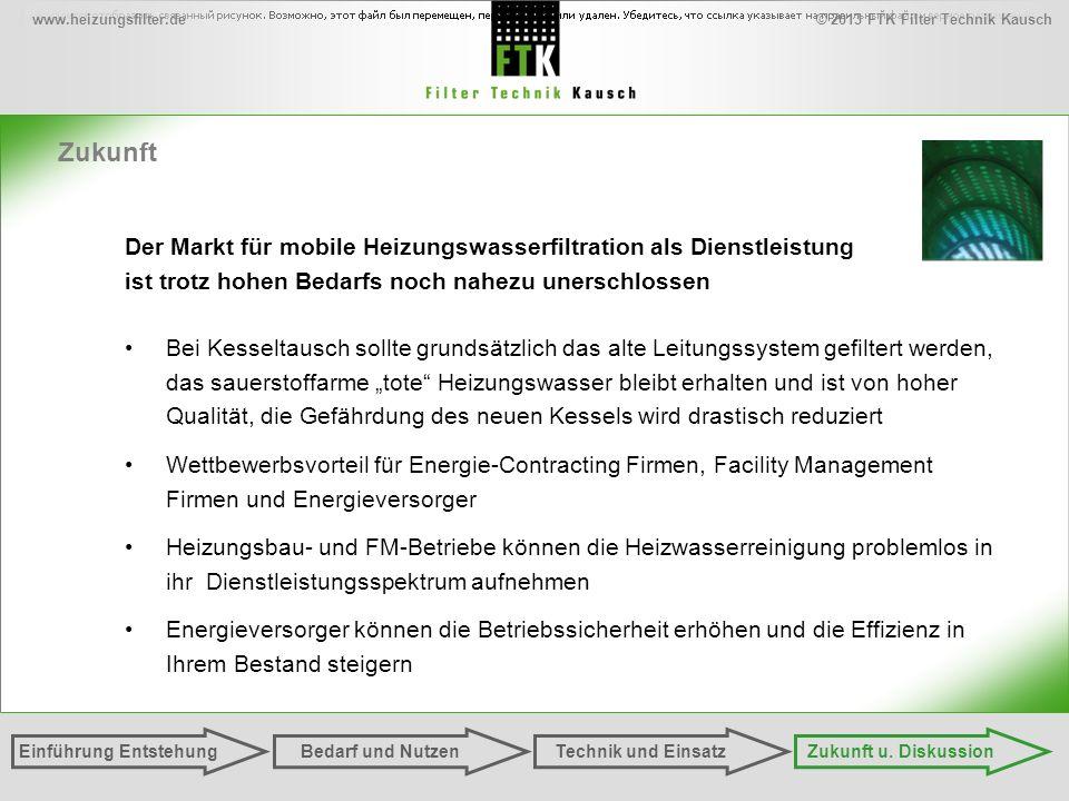 © 2013 FTK Filter Technik Kauschwww.heizungsfilter.de Zukunft Einführung EntstehungZukunft u. DiskussionTechnik und EinsatzBedarf und Nutzen Der Markt