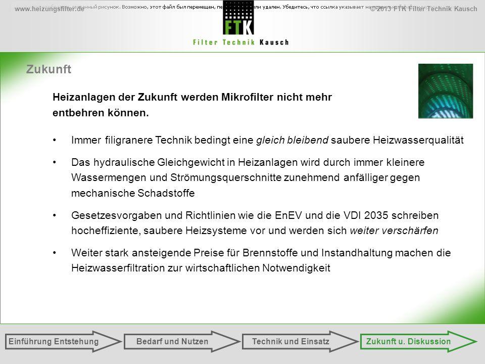 © 2013 FTK Filter Technik Kauschwww.heizungsfilter.de Zukunft Einführung EntstehungZukunft u. DiskussionTechnik und EinsatzBedarf und Nutzen Heizanlag