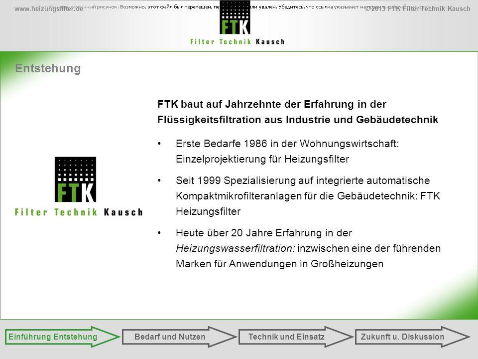© 2013 FTK Filter Technik Kauschwww.heizungsfilter.de Entstehung Einführung EntstehungZukunft u. DiskussionTechnik und EinsatzBedarf und Nutzen FTK ba