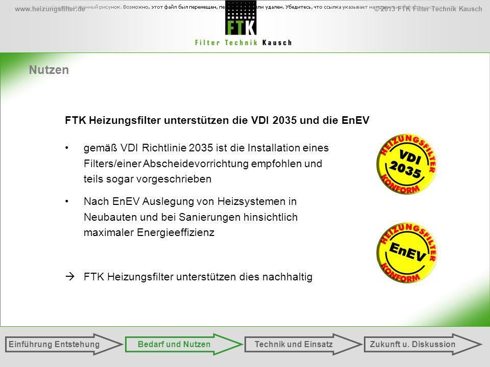 © 2013 FTK Filter Technik Kauschwww.heizungsfilter.de Nutzen FTK Heizungsfilter unterstützen die VDI 2035 und die EnEV gemäß VDI Richtlinie 2035 ist die Installation eines Filters/einer Abscheidevorrichtung empfohlen und teils sogar vorgeschrieben Nach EnEV Auslegung von Heizsystemen in Neubauten und bei Sanierungen hinsichtlich maximaler Energieeffizienz FTK Heizungsfilter unterstützen dies nachhaltig Einführung EntstehungZukunft u.