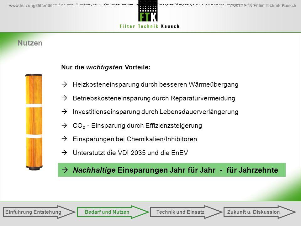 © 2013 FTK Filter Technik Kauschwww.heizungsfilter.de Nutzen Einführung EntstehungZukunft u. DiskussionTechnik und EinsatzBedarf und Nutzen Heizkosten