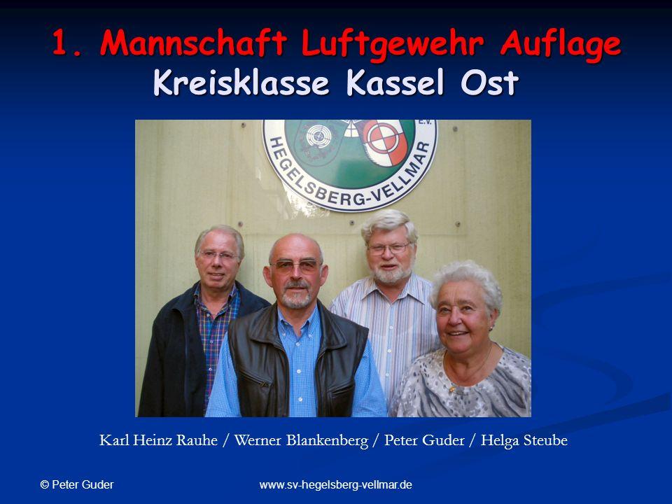 © Peter Guder www.sv-hegelsberg-vellmar.de 1. Mannschaft Luftgewehr Auflage Kreisklasse Kassel Ost Karl Heinz Rauhe / Werner Blankenberg / Peter Guder
