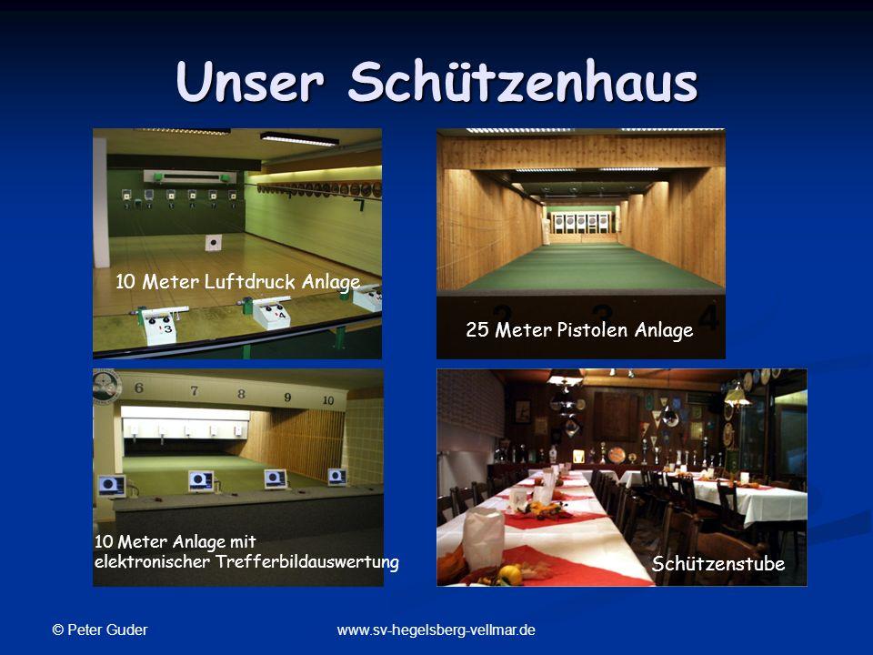 © Peter Guder www.sv-hegelsberg-vellmar.de Unser Schützenhaus 25 Meter Pistolen Anlage 10 Meter Luftdruck Anlage Schützenstube 10 Meter Anlage mit ele