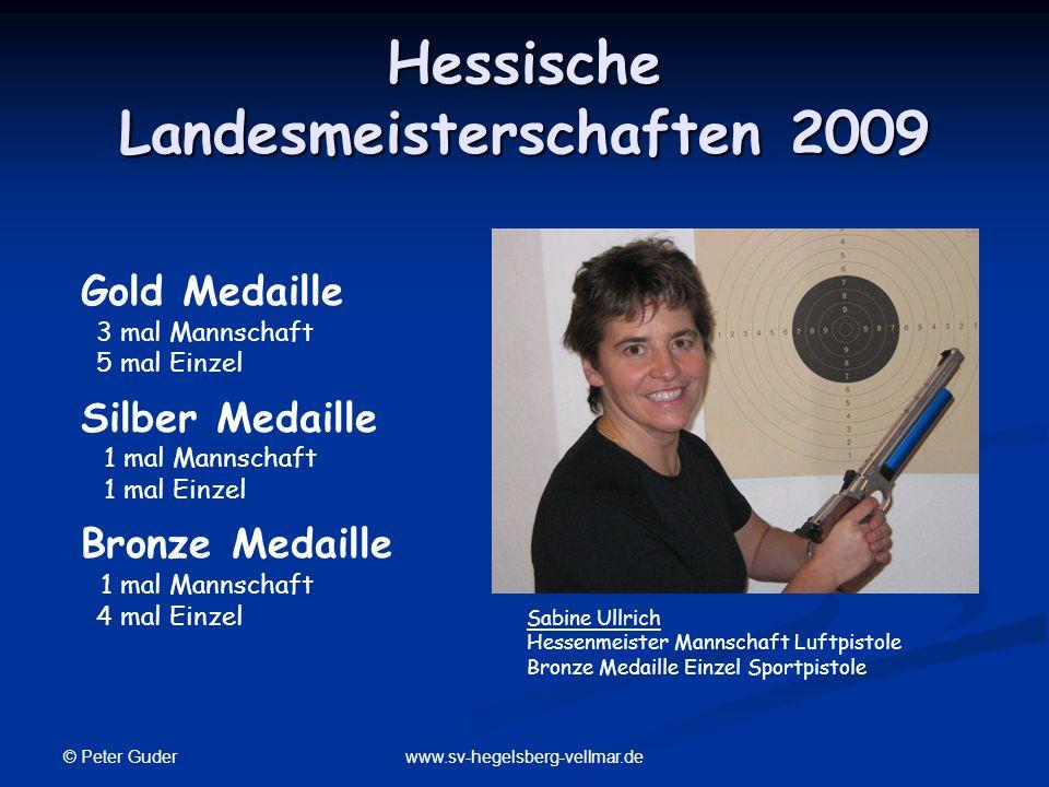 © Peter Guder www.sv-hegelsberg-vellmar.de Hessische Landesmeisterschaften 2009 Sabine Ullrich Hessenmeister Mannschaft Luftpistole Bronze Medaille Ei