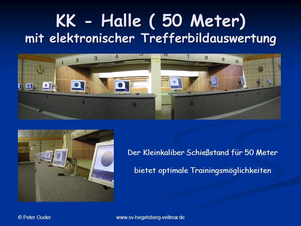 © Peter Guder www.sv-hegelsberg-vellmar.de KK - Halle ( 50 Meter) mit elektronischer Trefferbildauswertung Der Kleinkaliber Schießstand für 50 Meter b