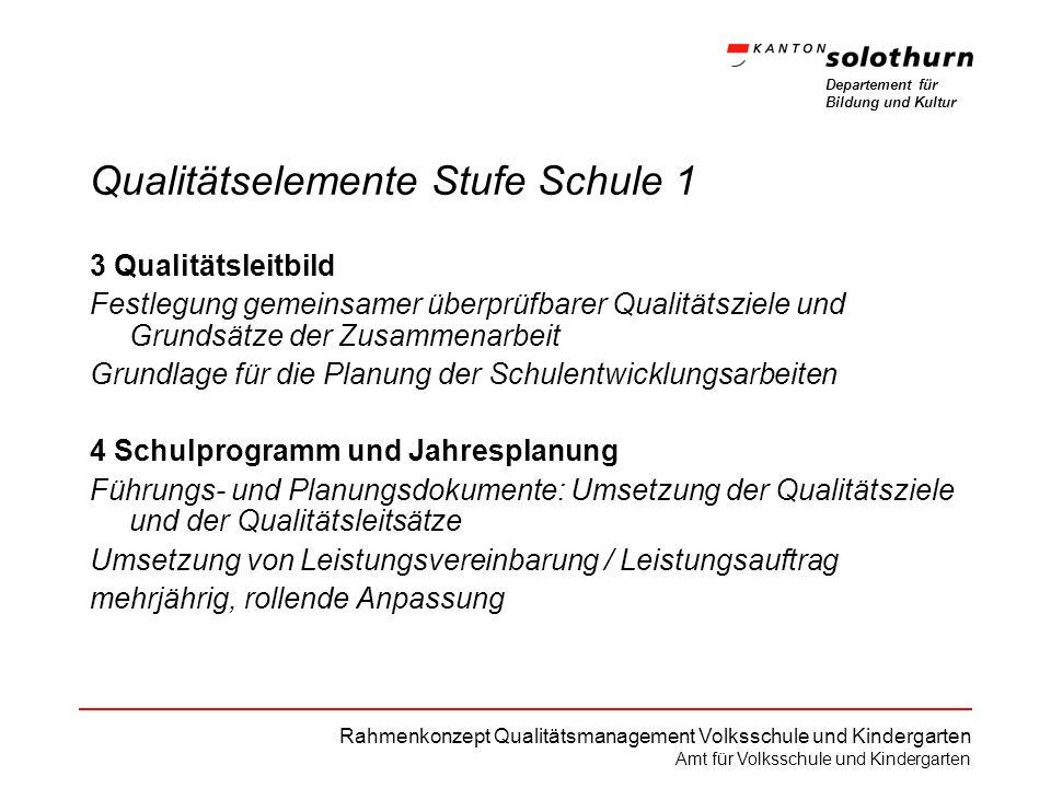 Departement für Bildung und Kultur Rahmenkonzept Qualitätsmanagement Volksschule und Kindergarten Amt für Volksschule und Kindergarten Qualitätselemen