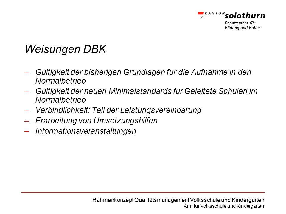 Departement für Bildung und Kultur Rahmenkonzept Qualitätsmanagement Volksschule und Kindergarten Amt für Volksschule und Kindergarten Weisungen DBK –
