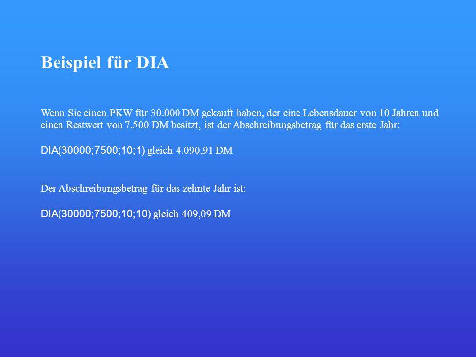 Beispiel für DIA Wenn Sie einen PKW für 30.000 DM gekauft haben, der eine Lebensdauer von 10 Jahren und einen Restwert von 7.500 DM besitzt, ist der A