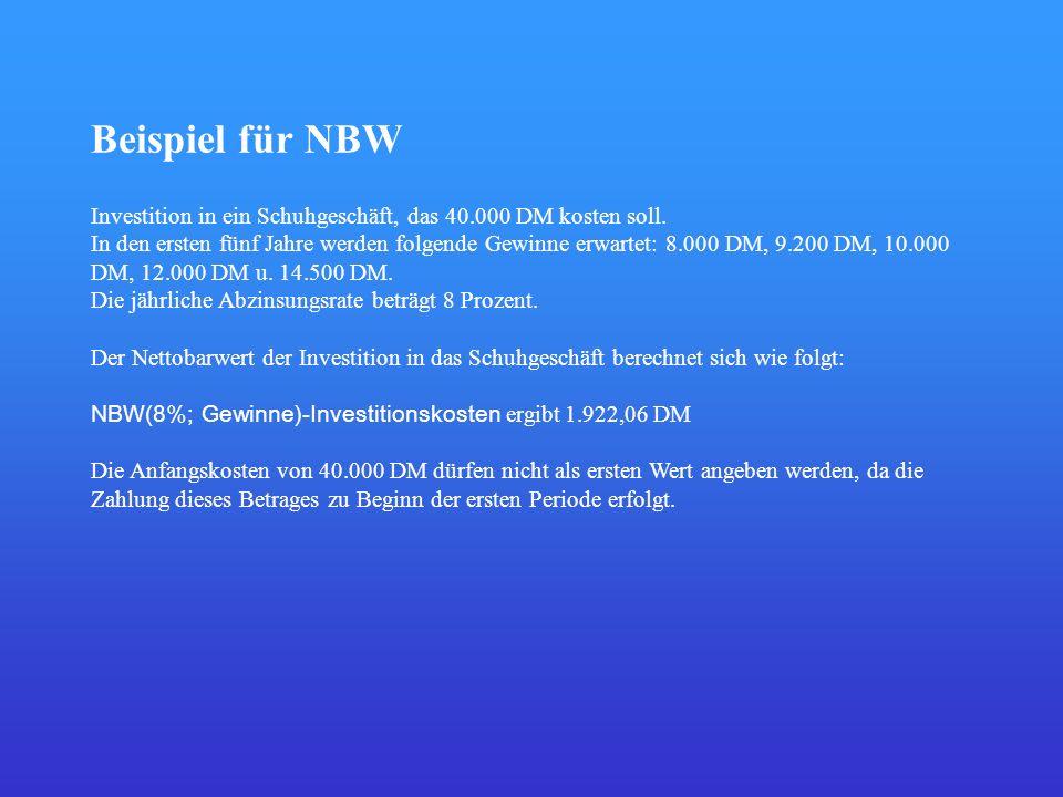 Beispiel für NBW Investition in ein Schuhgeschäft, das 40.000 DM kosten soll. In den ersten fünf Jahre werden folgende Gewinne erwartet: 8.000 DM, 9.2