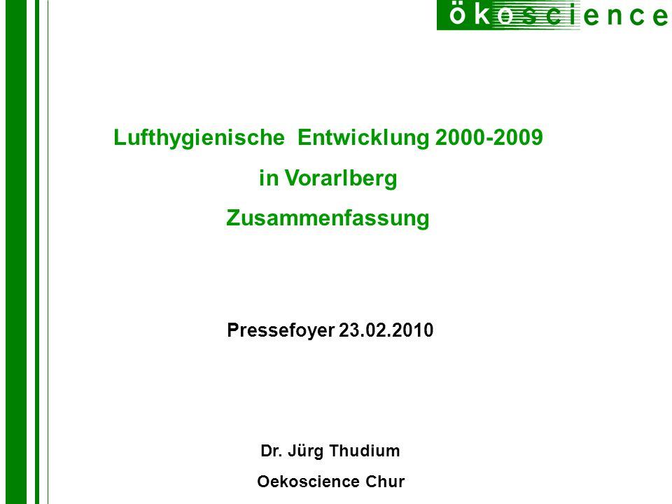 Lufthygienische Entwicklung 2000-2009 in Vorarlberg Zusammenfassung Pressefoyer 23.02.2010 Dr. Jürg Thudium Oekoscience Chur