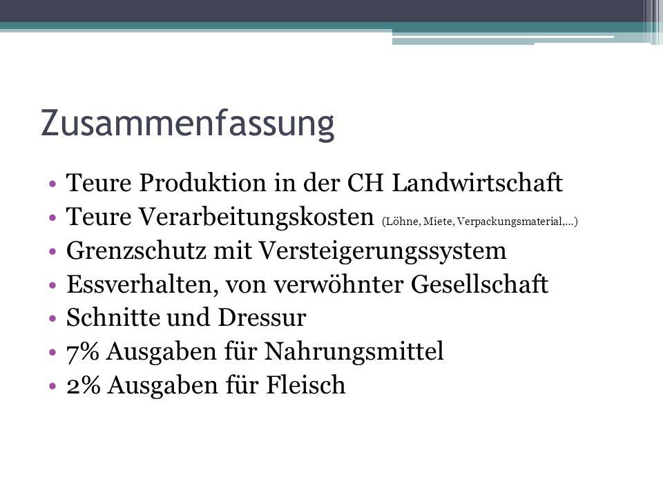 Zusammenfassung Teure Produktion in der CH Landwirtschaft Teure Verarbeitungskosten (Löhne, Miete, Verpackungsmaterial,…) Grenzschutz mit Versteigerun