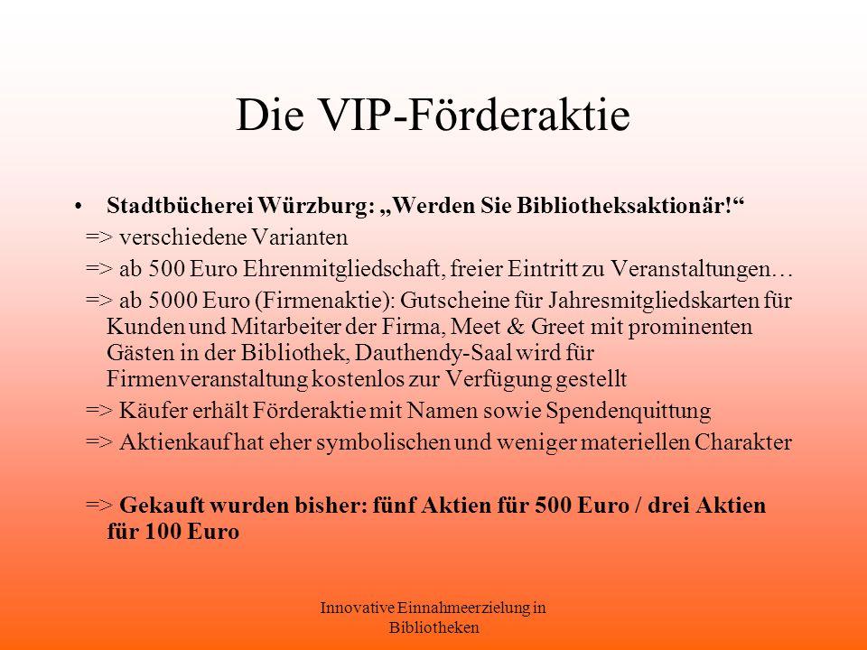 Innovative Einnahmeerzielung in Bibliotheken Die VIP-Förderaktie Stadtbücherei Würzburg: Werden Sie Bibliotheksaktionär.
