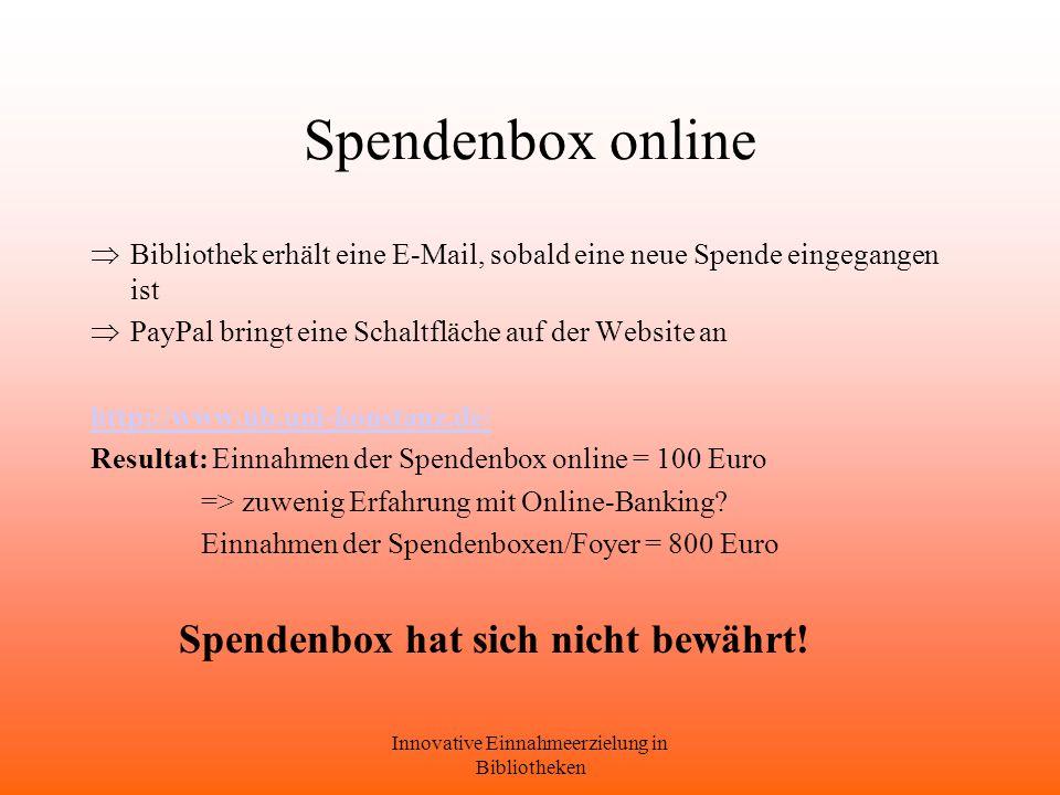 Innovative Einnahmeerzielung in Bibliotheken Spendenbox online Bibliothek erhält eine E-Mail, sobald eine neue Spende eingegangen ist PayPal bringt eine Schaltfläche auf der Website an http://www.ub.uni-konstanz.de/ Resultat: Einnahmen der Spendenbox online = 100 Euro => zuwenig Erfahrung mit Online-Banking.