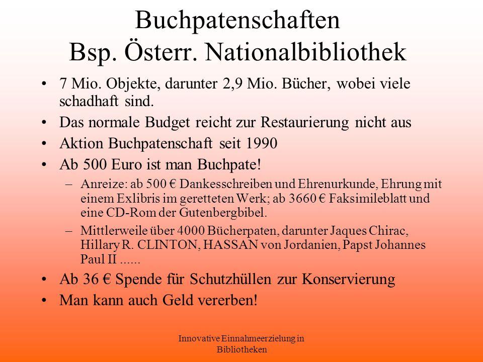 Innovative Einnahmeerzielung in Bibliotheken Buchpatenschaften Bsp.