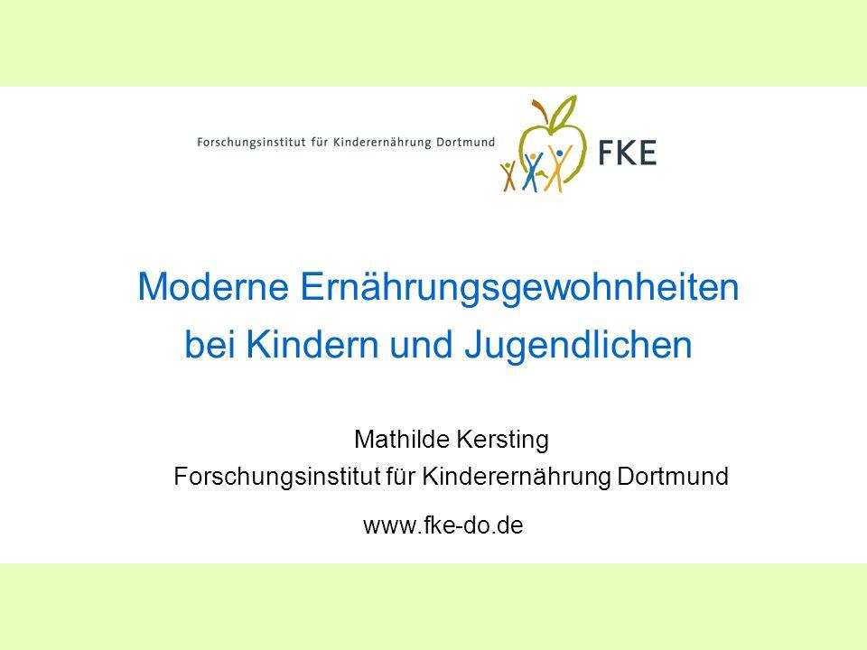 Moderne Ernährungsgewohnheiten bei Kindern und Jugendlichen Mathilde Kersting Forschungsinstitut für Kinderernährung Dortmund www.fke-do.de
