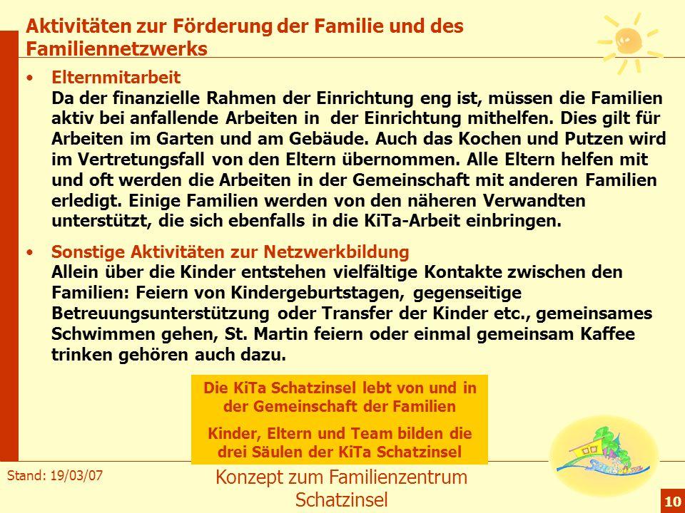 Stand: 19/03/07 Konzept zum Familienzentrum Schatzinsel 10 Aktivitäten zur Förderung der Familie und des Familiennetzwerks Elternmitarbeit Da der fina