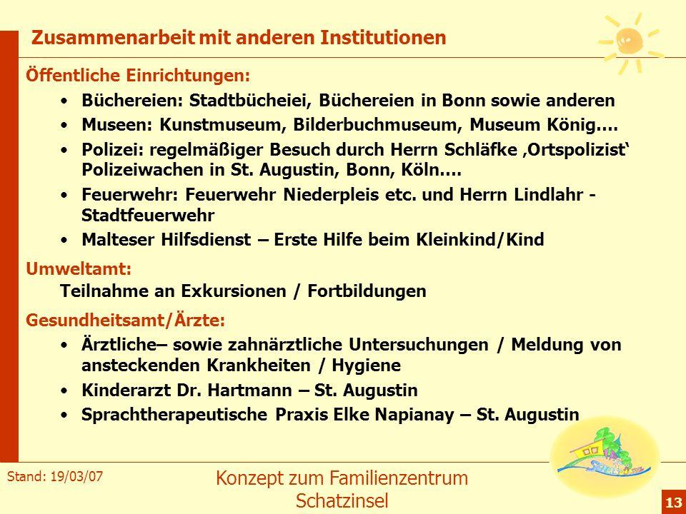 Stand: 19/03/07 Konzept zum Familienzentrum Schatzinsel 13 Zusammenarbeit mit anderen Institutionen Öffentliche Einrichtungen: Büchereien: Stadtbüchei