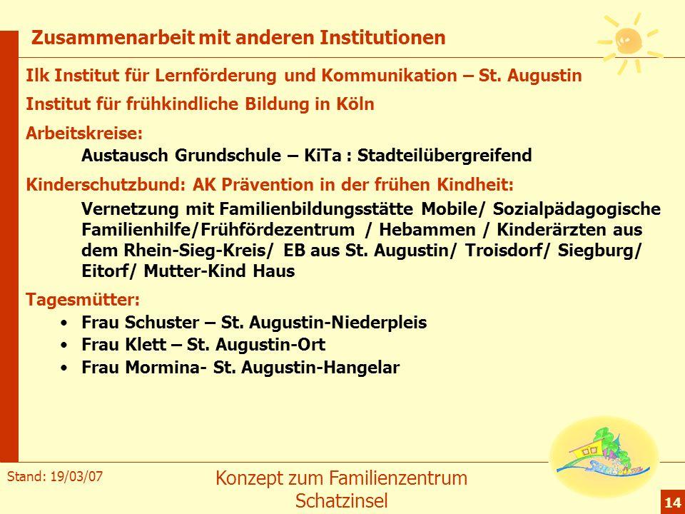 Stand: 19/03/07 Konzept zum Familienzentrum Schatzinsel 14 Zusammenarbeit mit anderen Institutionen Ilk Institut für Lernförderung und Kommunikation –
